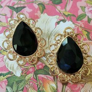 Black Crystal and gold teardrop earrings